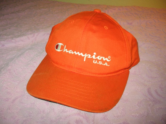 6c315a2c0b8 Champion USA orange cap hat structured Spell out logo