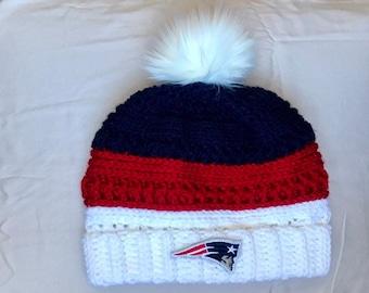 6be3e5459aa Patriots Beanie Fur Pom • Patriots Hat • Faux Fur Patriots Hat • Patriots  Winter Hat • New England Winter Beanie • New Engalnd Winter Hat