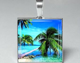 Beach palm tree sunset glass tile pendant necklace jewelry