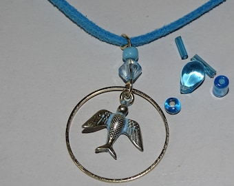 Blue & gold bird necklace