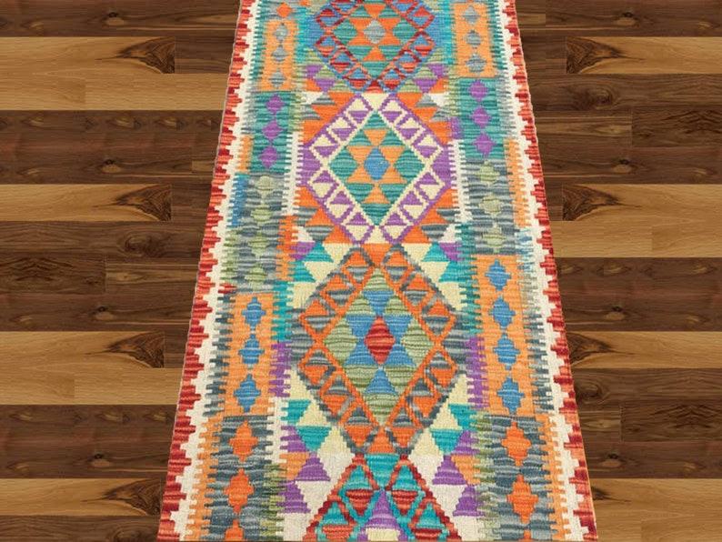 FREE DELIVERY 194 x 70 cm Afghan Chobi Geometric Design Sheep Wool Kilim Runner
