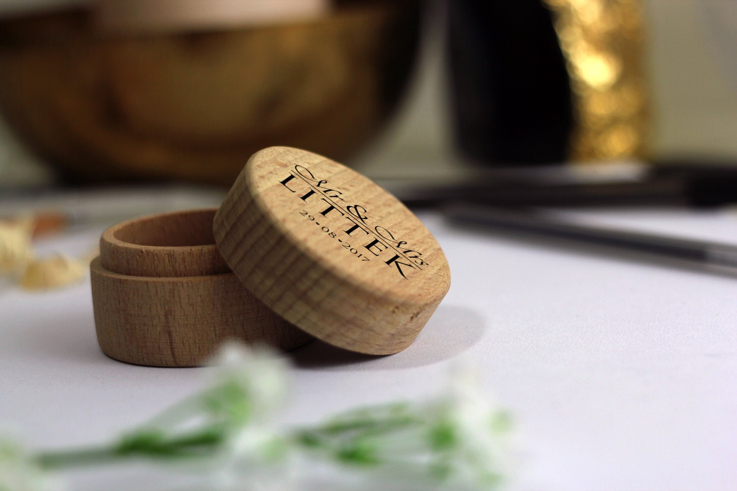 Personalised Wooden Ring Box Custom Wooden Ring Box Wooden