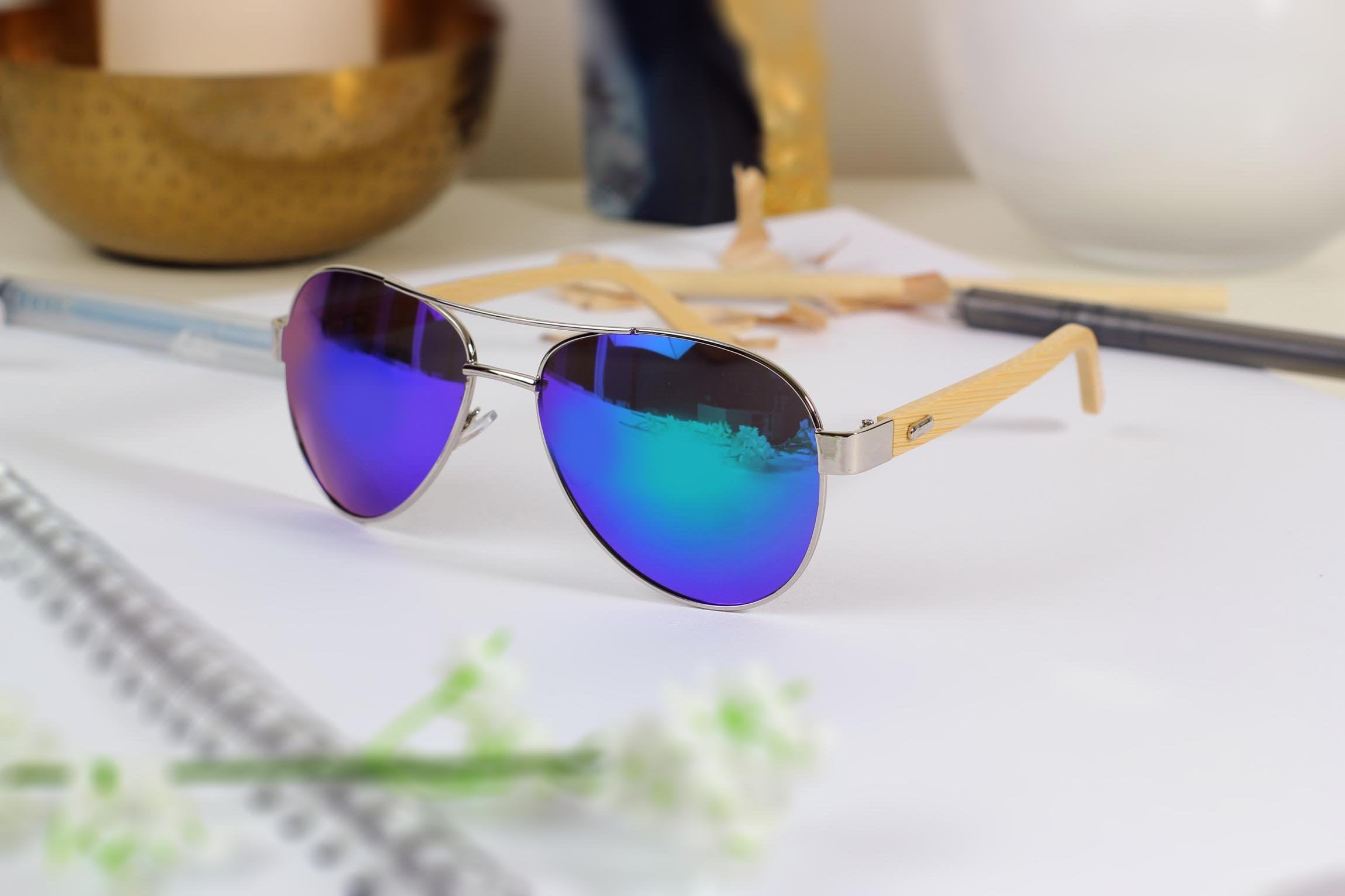 Blue Ray Aviator Style Sunglasses Personalised Wooden Sunglasses