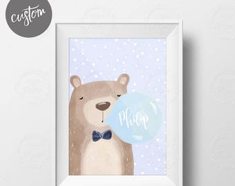 Printable Male Bear with blue bubble gum in Watercolor. Custom with name. Personalized Nursery Gifts Wall Frame. DIY Instant Download.