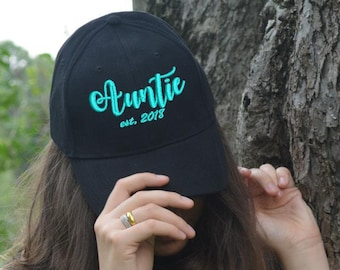 b3fab9971c5 Auntie Est. hat Custom Embroidered Cap Baseball dad cap hat Personalized  Gift for Aunt BAE hat Best aunt Ever Auntie Gift for Sister