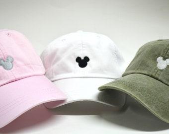 60b6ff644 Mickey Mouse Head Hat Disney Baseball Caps Custom Embroidered Baseball cap  Family Vacation Hats Disney World Vacation Hat