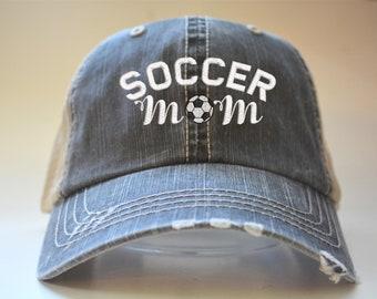 c6c4ef4f713 Soccer Mom Distressed Women Trucker Hat Mesh Back Denim  momlife Cap Grey Mesh  Gifts Embroidery Custom Team Gift
