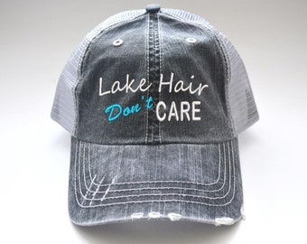 7c109461d LAKE Hair Don't Care distressed Women's Trucker Hat Embroidered Cap Black  Gray Mesh Cap initials embroidered cap monogram gift