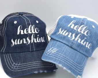 3fcf51626b0f5 Hello Sunshine Distressed Women Trucker Hat Mesh Lake Hair don't care Denim  Cap Gifts Funny Saying Quote Embroidery Hat Gift Funny Gifts