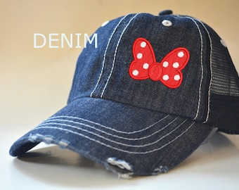 Minnie Mouse Bow Mickey Mouse Head Hat Distressed Trucker hat Disney Trip  Caps Custom Embroidered Family Vacation Hats Disney World Vacation 71ce8d1e336b