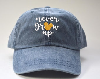 89634054660 Never Grow UP Mickey Mouse Head Hat Disney Baseball Caps Custom Embroidered Baseball  cap Family Vacation Hats Disney World Vacation Hat