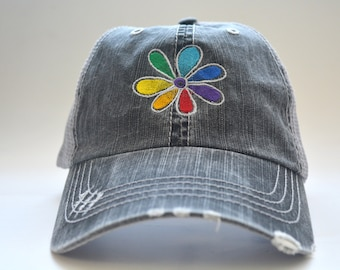 8ea874fe055 Rainbow flower distressed trucker hat gay pride lesbian gift Colorful  embroidered flower Baseball cap dad hat Custom embroidered hat