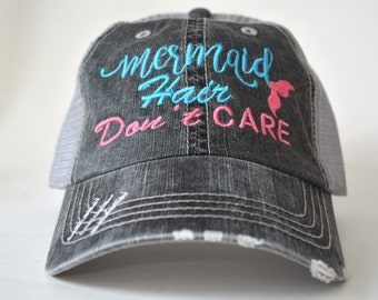 a621c178 Mermaid hair don't care distressed Women's Trucker Hat Personalized  Embroidered Cap Black Gray Mesh Cap embroidered cap monogram gift
