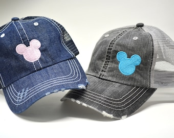 size 40 5dd0b 7f405 Mickey Mouse Head Hat Distressed Trucker hat Disney Trip Caps Custom  Embroidered Baseball Family Vacation Hats Disney World Vacation