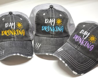 06dccce4 Day Drinking Distressed Women Trucker Hat Mesh Back Funny quote Cap Grey  Mesh Gifts Girls Trip bachelorette party Funny Saying Embroidery
