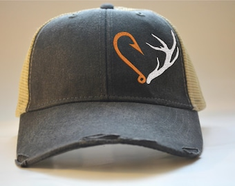 0a61d80e Hunting Fishing Hat Gift for Men Distressed Trucker Hat Hunting Hat Deer  Antler Fathers Day Gift, GSP Gift for Dad Boyfriend Gift Grandpa