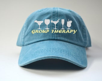 Group therapy Funny Drinking Saying Baseball Cap bachelorette party Gift  Custom Embroidered hat 5313db37b6cc