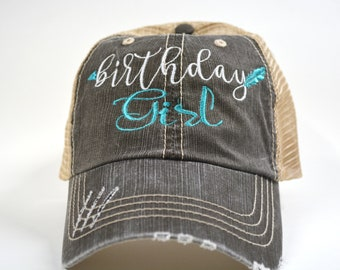 d18d8d3c212 Birthday Girl Hat Distressed Embroidered trucker Women Cap Party Hat  Embroidered Blessed Hat Baseball Cap Birthday Gift Hat GREY AQUA PINK