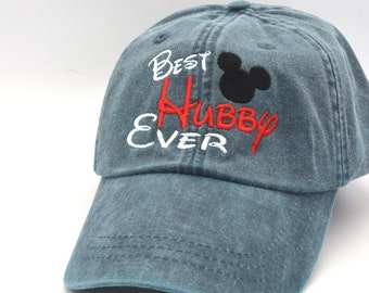 reputable site 10fda 094f5 Best Hubby Ever Mickey Mouse Ears Head Hat Disney Baseball Caps Custom  Embroidered Family Vacation Hats Disney World Vacation Hat