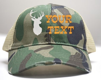 504cfbcfbb6ab Custom Distressed Trucker Hat Men Gift Hunter Deer Antler Fathers Day Gift  Boyfriend Dad Hat Gift For Hunter