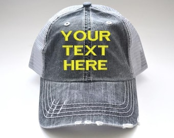 465e2f57 Custom distressed Women's Trucker Hat Personalized Your text here  Embroidered Cap Black Gray Mesh Cap initials embroidered cap monogram gift