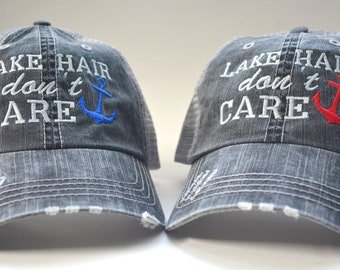 8df5463b5df LAKE Hair Don t Care Anchor Distressed Women s Trucker Hat Embroidered Cap  Black Gray Mesh Cap initials embroidered cap monogram gift