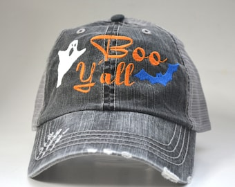 ee9ffa7b10710 Boo Y all distressed Halloween Hat Sayings Ghost Bat Embroidered Custom Hat  Personalized Women Mesh hat