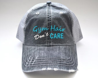 Gym Hair Don t Care distressed Women s Trucker Hat Embroidered Cap Black  Gray Mesh Cap initials embroidered cap monogram Fitness Sport gift 4e1f805c60b9