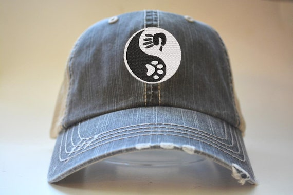 Yin Yang Dog Paw Silver Embroidery Embroidered Adjustable Hat Baseball Cap