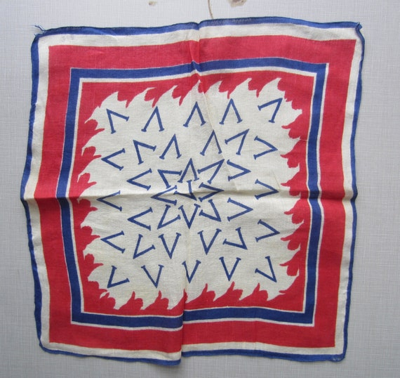 Vintage V (for victory) hankie circa the 40's