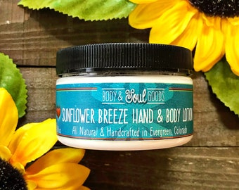 Sunflower Lotion - Natural Hand Lotion - Non-Greasy Hand Cream for Knitters - Handmade Lotion - Travel Jar Lotion - Summer Scent Lotion
