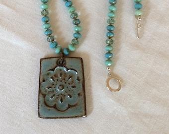 Ceramic flower pendant beaded necklace, Czech glass beads