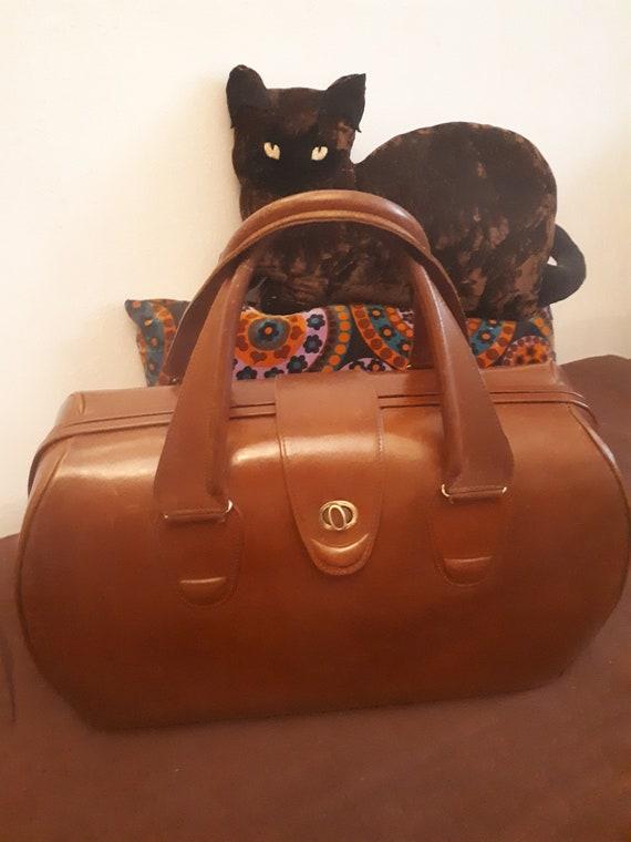 vintage weekend bag 40s brown leather/cognac enTBE