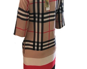Women's 3/4 Sleeve Tartan plaid check Dresses - available in Uk size 8 & 14