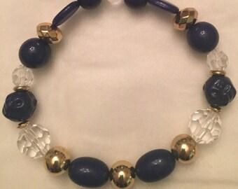 Navy or pink and crystal bracelet