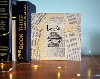 wooden plaque book page handmade