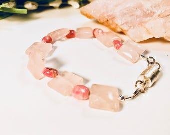 Bracelet Rose Quartz, Rhodochrosite, Healing Properties, Comfort, Harmony, Compassion, Self Love, Love, Friendship