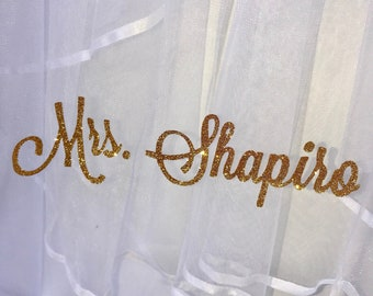 FREE SHIPPING | Custom Bachelorette Veil | Personalized Veil | Gorgeous 2 layer White Bridal Veil
