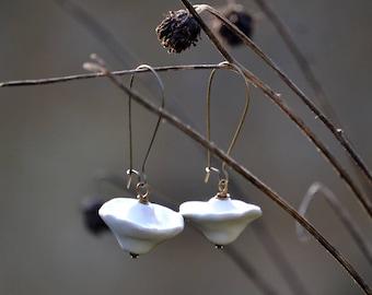 Long earrings BUNTING white glazed ceramic