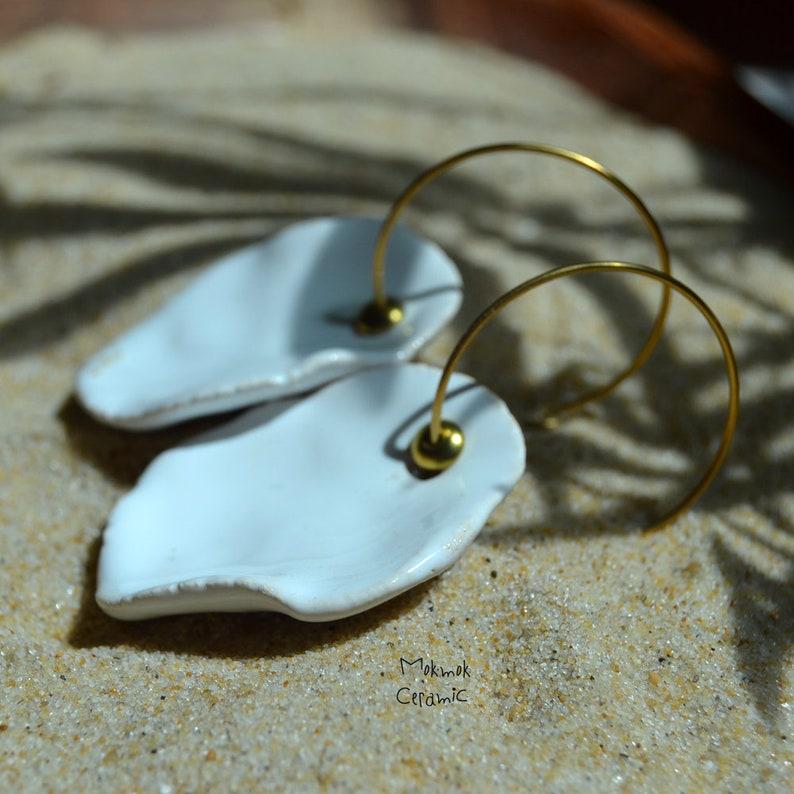 ceramic jewelry white jewelry white jewelry summer wedding wedding creoles wedding jewelry Seashell earrings