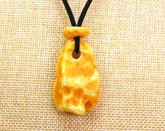 Natural Baltic amber amulet Baltic amber donut yellow brown color amber ring with black string