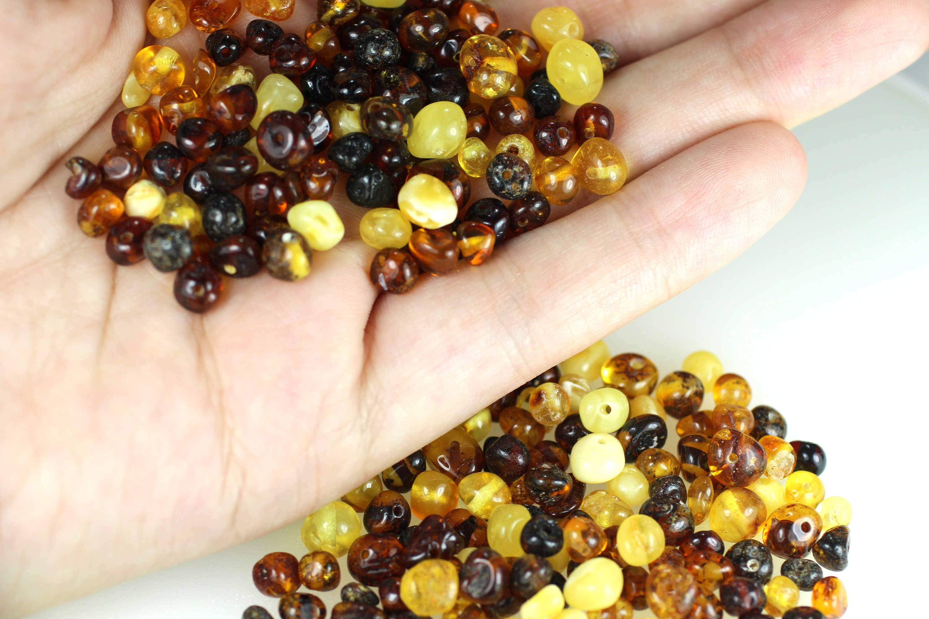 10gr.Natural Baltic Amber Loose Beads Baroque Shape With Hole