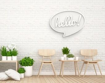Hello / / object deco / / typographic object / / decorative PVC / / wood Decoration / / bedroom