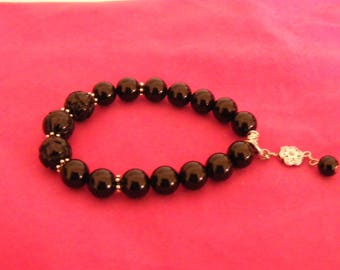 Bracelet Onyx natural Stone beads lotus blossoms with Pendant