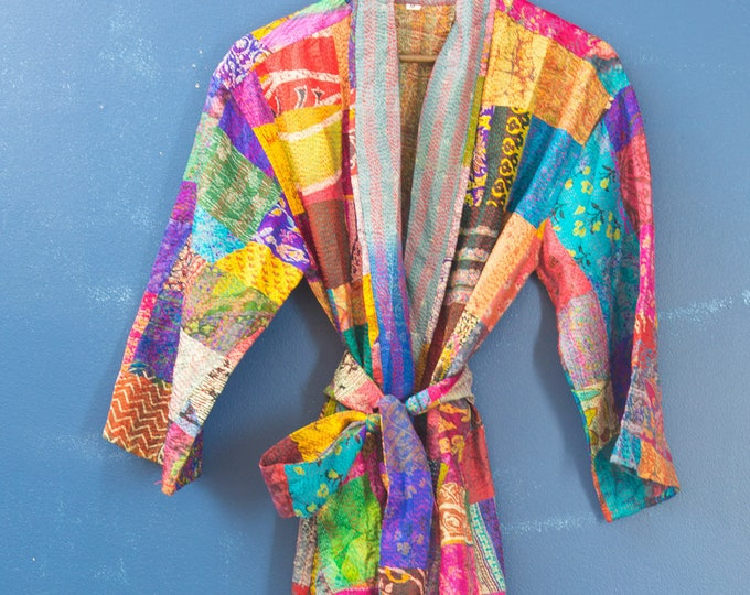 Featured listing image: Silk Kimono Robe - Silk Bridal Robe - Duster Gown - Eclectic Boho Robe - Gift For Her - Silk Dressing Gown - Gift For Mom - Lounge Wear