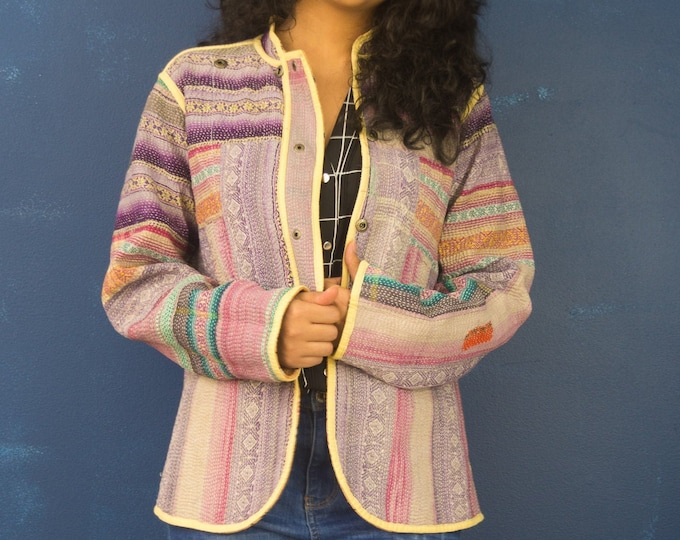Featured listing image: Vintage kantha quilted Jacket - Vintage Cotton Jacket -  Boho Jacket - Vintage Kantha - Gift For Her -Embroidery Jacket - Pink Jacket