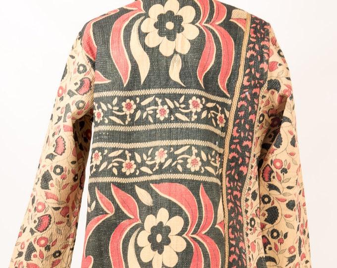 Featured listing image: Vintage Chintz Jacket,Repurposed all season Jacket,Vintage Cotton Jacket,Reversible Boho Jacket,Vintage Kantha,Gift For Mom, all season coat
