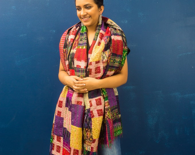 Featured listing image: Silk Scarf,Oversized Kantha Stole,Indian Dupatta,Vintage Patch Scarf,Boho Neck Wrap,Kantha,Gift For Mom,Sustainable Scarf,Reversible Scarf