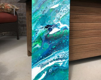 Seascape Painting, Absract Seascape, Abstract Ocean, Acrylic Pour Painting, Coastal Decor, Modern Art, Fluid Painting, Blue Green Painting