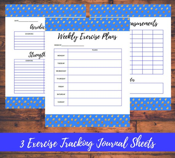 exercise tracking printable journal sheets letter size workout etsy